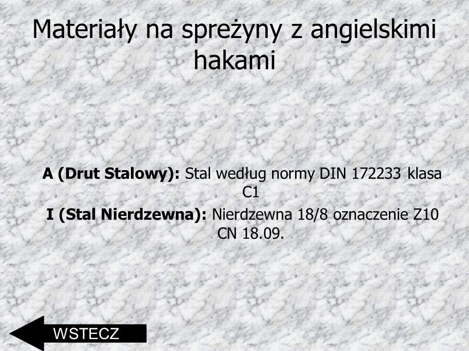 Materiały na spreżyny z angielskimi hakami A (Drut Stalowy): Stal według normy DIN 172233 klasa C1 I (Stal Nierdzewna): Nierdzewna 18/8 oznaczenie Z10