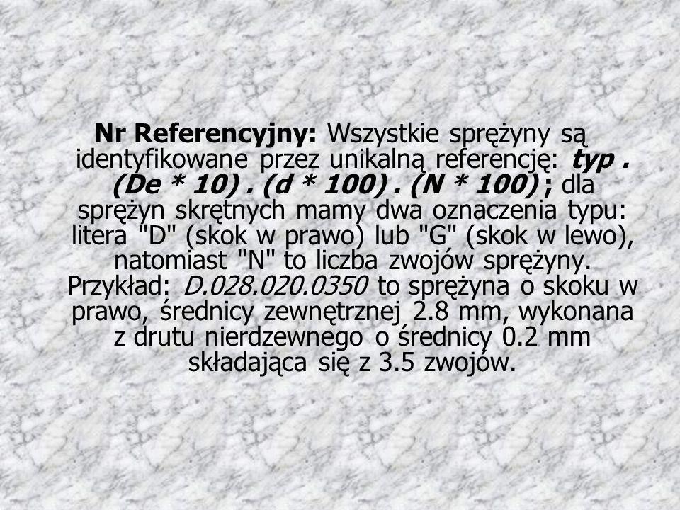 Nr Referencyjny: Wszystkie sprężyny są identyfikowane przez unikalną referencję: typ. (De * 10). (d * 100). (N * 100) ; dla sprężyn skrętnych mamy dwa