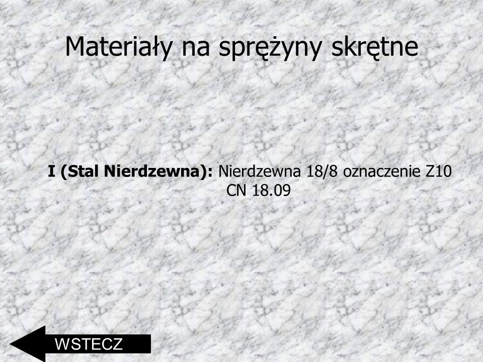 Materiały na sprężyny skrętne I (Stal Nierdzewna): Nierdzewna 18/8 oznaczenie Z10 CN 18.09 WSTECZ