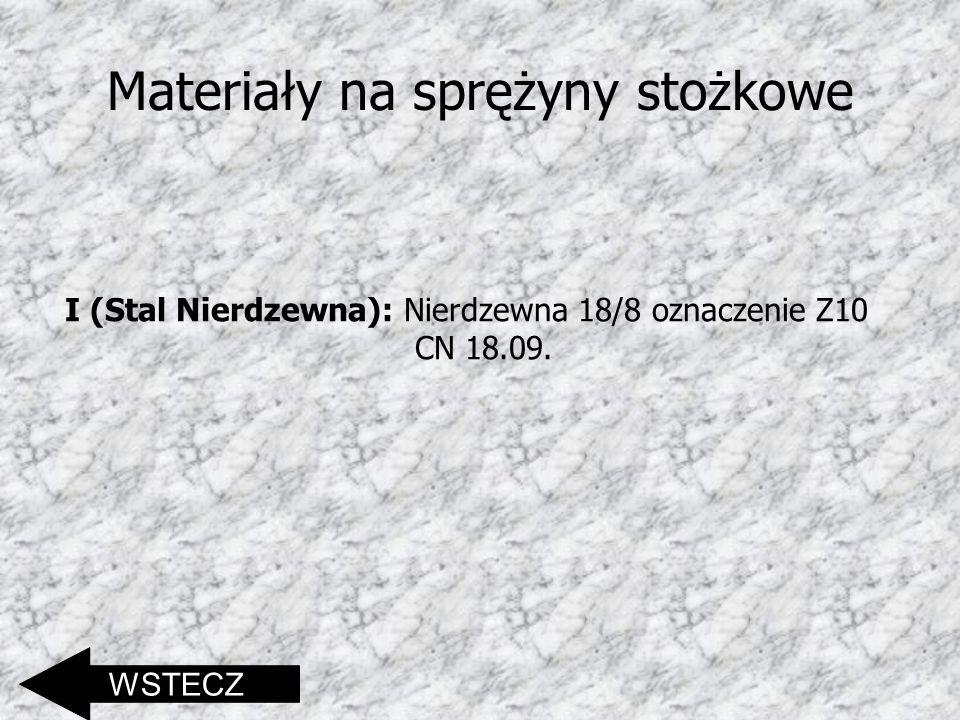 Materiały na sprężyny stożkowe I (Stal Nierdzewna): Nierdzewna 18/8 oznaczenie Z10 CN 18.09. WSTECZ