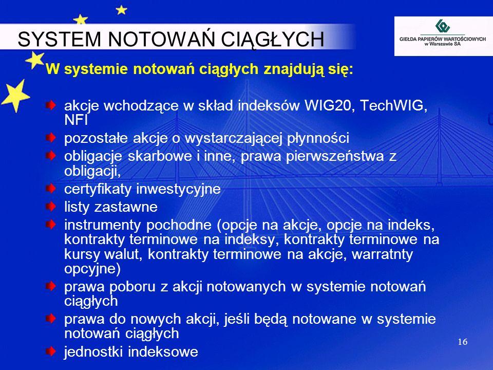 16 SYSTEM NOTOWAŃ CIĄGŁYCH W systemie notowań ciągłych znajdują się: akcje wchodzące w skład indeksów WIG20, TechWIG, NFI pozostałe akcje o wystarczaj