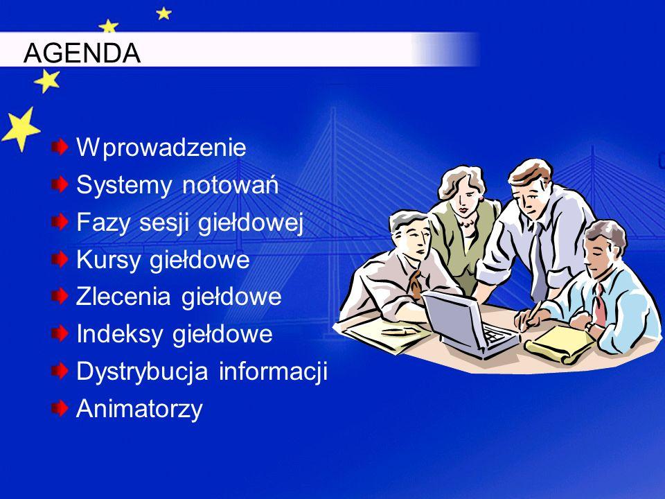 AGENDA Wprowadzenie Systemy notowań Fazy sesji giełdowej Kursy giełdowe Zlecenia giełdowe Indeksy giełdowe Dystrybucja informacji Animatorzy