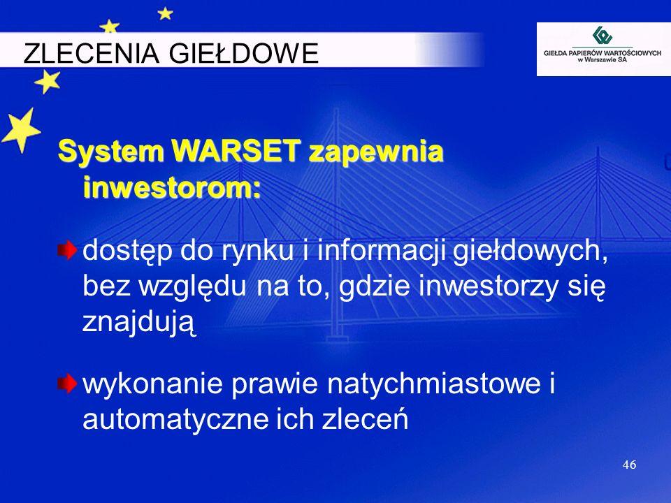 46 ZLECENIA GIEŁDOWE System WARSET zapewnia inwestorom: dostęp do rynku i informacji giełdowych, bez względu na to, gdzie inwestorzy się znajdują wyko