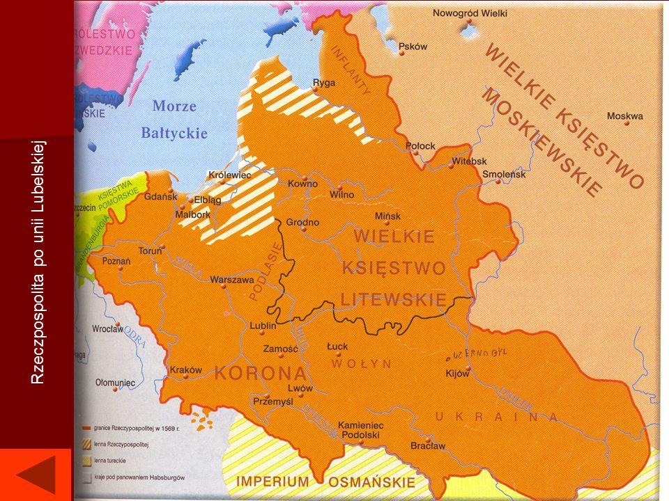 Unia Lubelska – w 1569 pod wpływem ruchu egzekucyjnego [ruch egzekucyjny] zawarto ściślejszą unię z Litwą. Zastąpione unię personalną, unią realną. Ta