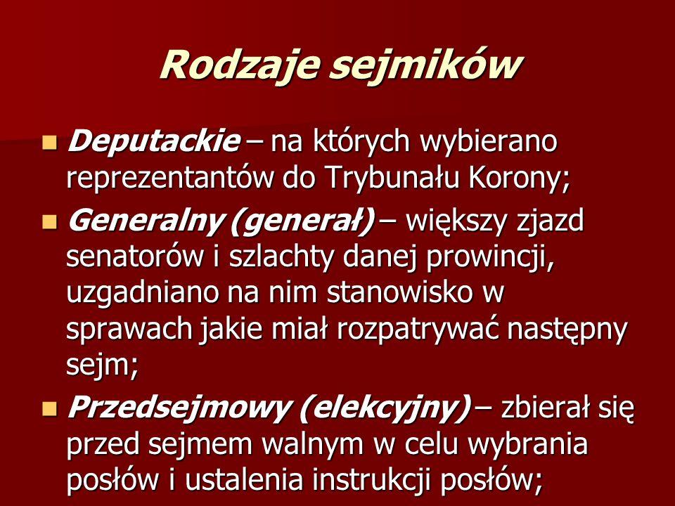 SEJMIKI były to zjazdy szlachty, zamieszkującej województwo lub ziemię, na które dzieliła się Korona i Litwa np. województwo krakowskie czy ziemia dob