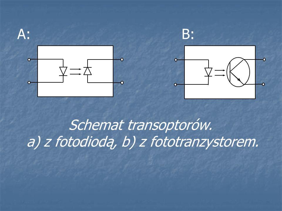 A:B: Schemat transoptorów. a) z fotodiodą, b) z fototranzystorem.