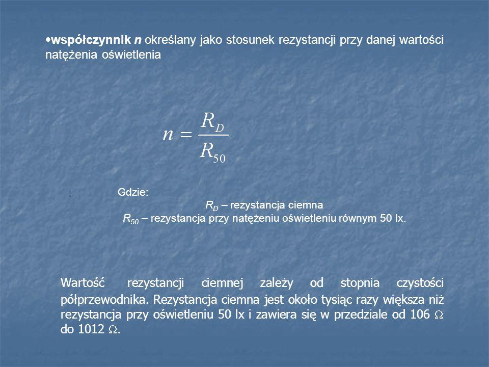 Na podstawie charakterystyki prądowo – napięciowej fotorezystora (rys.9.5)dobiera się właściwy obszar jego pracy.