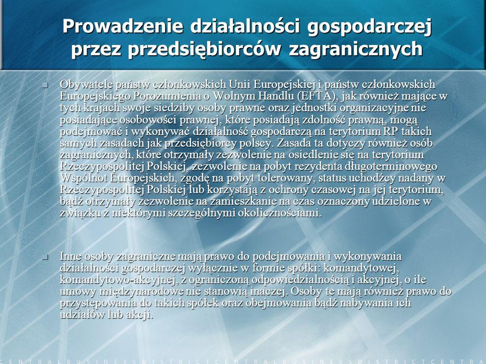 Prowadzenie działalności gospodarczej przez przedsiębiorców zagranicznych Obywatele państw członkowskich Unii Europejskiej i państw członkowskich Euro