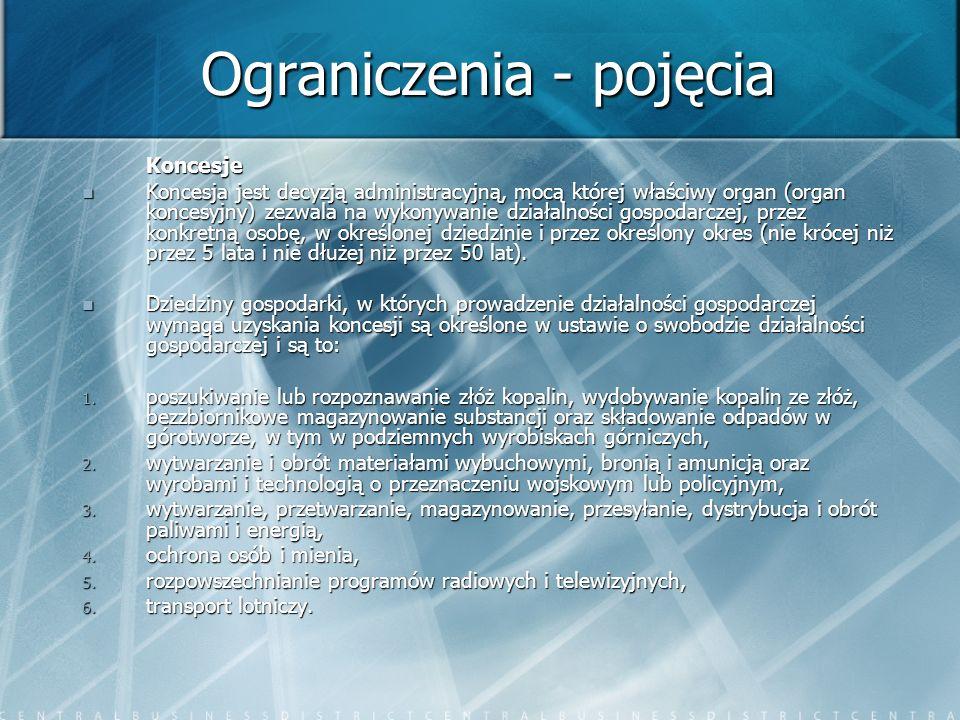 Ograniczenia - pojęcia Koncesje Koncesja jest decyzją administracyjną, mocą której właściwy organ (organ koncesyjny) zezwala na wykonywanie działalnoś