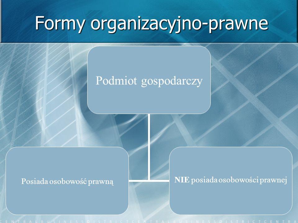 Formy organizacyjno-prawne Podmiot gospodarczy Posiada osobowość prawną NIE posiada osobowości prawnej