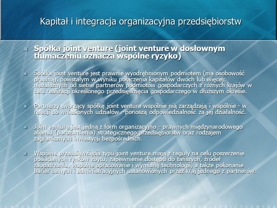 Kapitał i integracja organizacyjna przedsiębiorstw Spółka joint venture (joint venture w dosłownym tłumaczeniu oznacza wspólne ryzyko) Spółka joint ve