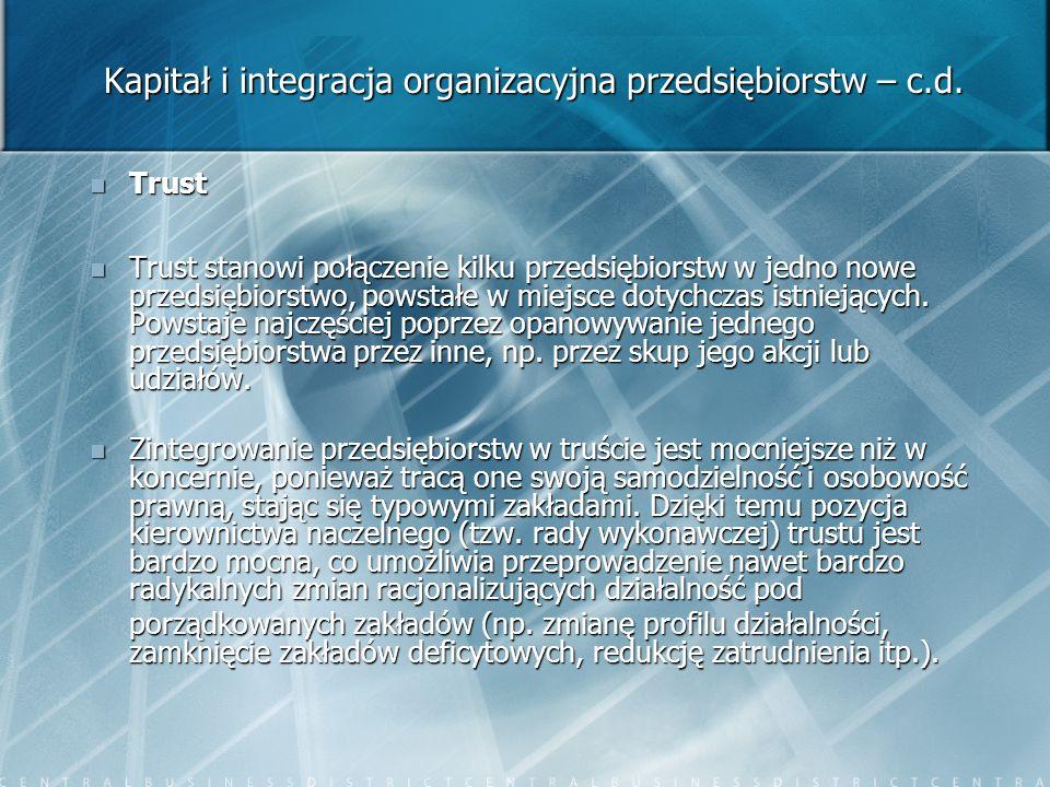 Kapitał i integracja organizacyjna przedsiębiorstw – c.d. Trust Trust Trust stanowi połączenie kilku przedsiębiorstw w jedno nowe przedsiębiorstwo, po