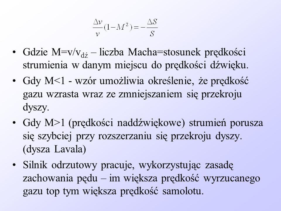 Gdzie M=v/v dź – liczba Macha=stosunek prędkości strumienia w danym miejscu do prędkości dźwięku. Gdy M<1 - wzór umożliwia określenie, że prędkość gaz