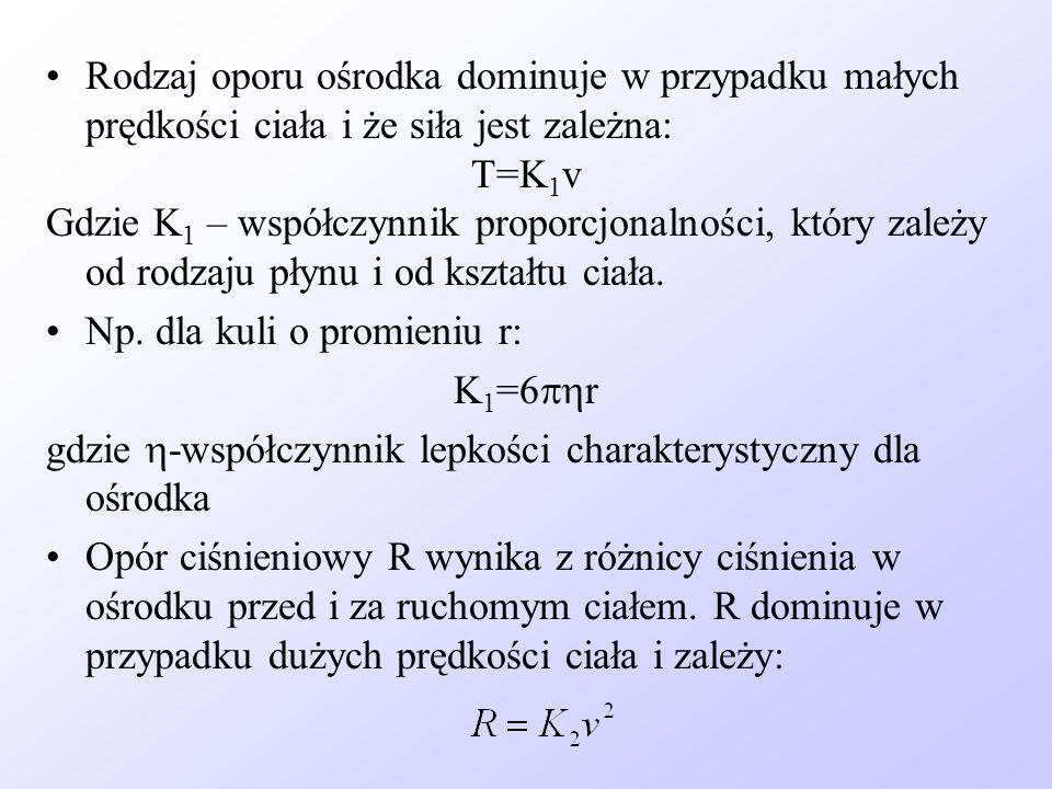 Rodzaj oporu ośrodka dominuje w przypadku małych prędkości ciała i że siła jest zależna: T=K 1 v Gdzie K 1 – współczynnik proporcjonalności, który zal