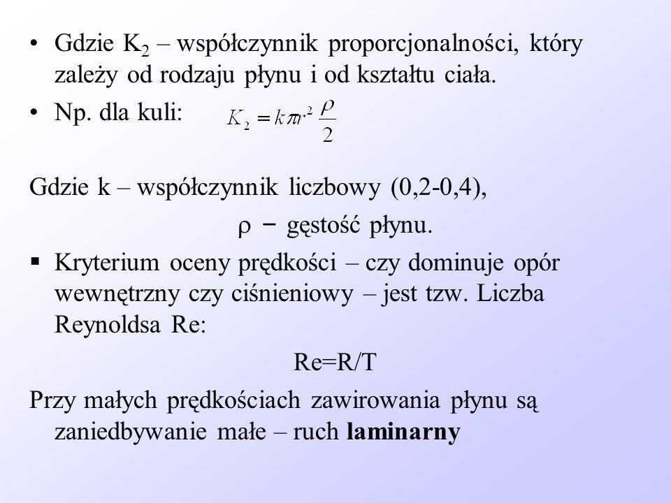 Gdzie K 2 – współczynnik proporcjonalności, który zależy od rodzaju płynu i od kształtu ciała. Np. dla kuli: Gdzie k – współczynnik liczbowy (0,2-0,4)