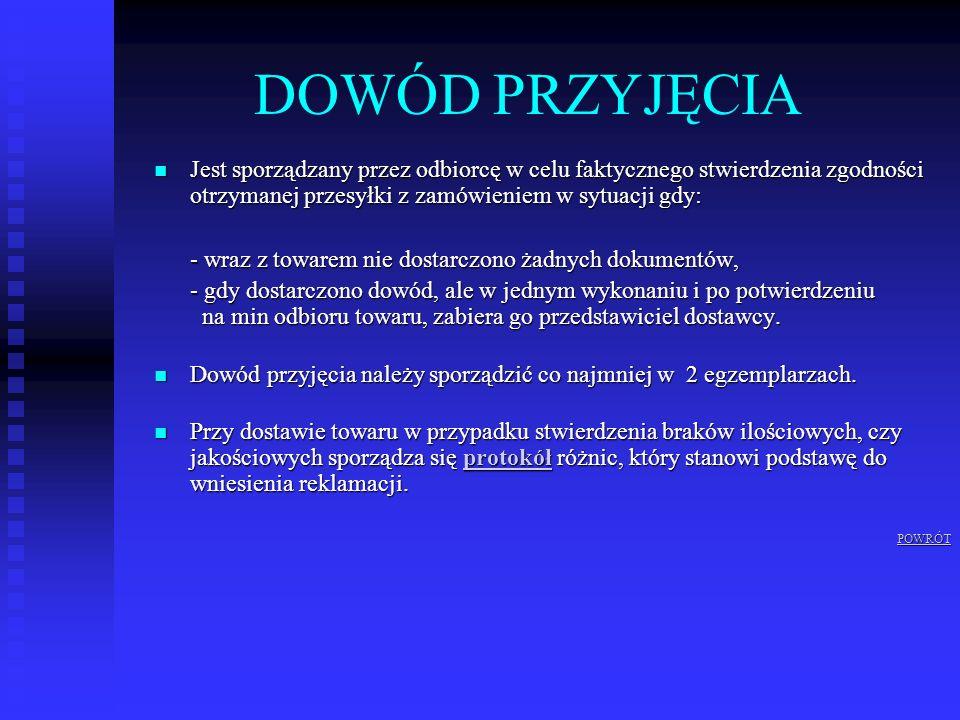 DOWÓD PRZYJĘCIA Jest sporządzany przez odbiorcę w celu faktycznego stwierdzenia zgodności otrzymanej przesyłki z zamówieniem w sytuacji gdy: Jest spor