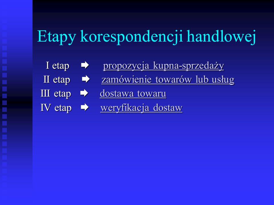 Etapy korespondencji handlowej I etap propozycja kupna-sprzedaży I etap propozycja kupna-sprzedażypropozycja kupna-sprzedażypropozycja kupna-sprzedaży