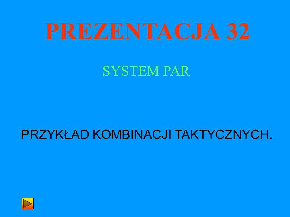 PREZENTACJA 32 PRZYKŁAD KOMBINACJI TAKTYCZNYCH. SYSTEM PAR