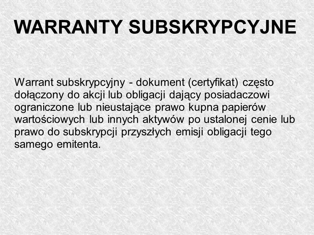 Warrant subskrypcyjny - dokument (certyfikat) często dołączony do akcji lub obligacji dający posiadaczowi ograniczone lub nieustające prawo kupna papi
