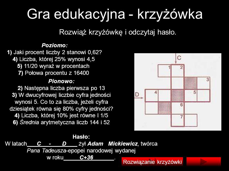 Gra edukacyjna - krzyżówka Rozwiąż krzyżówkę i odczytaj hasło. Poziomo: 1) Jaki procent liczby 2 stanowi 0,62? 4) Liczba, której 25% wynosi 4,5 5) 11/