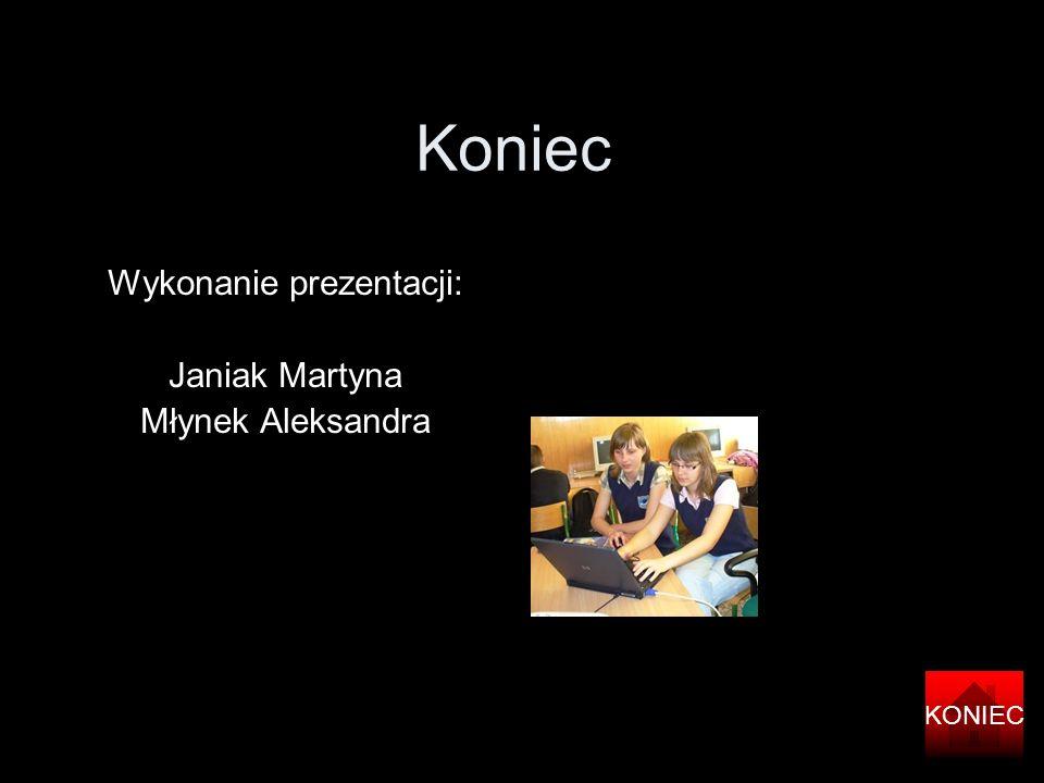 Koniec Wykonanie prezentacji: Janiak Martyna Młynek Aleksandra KONIEC