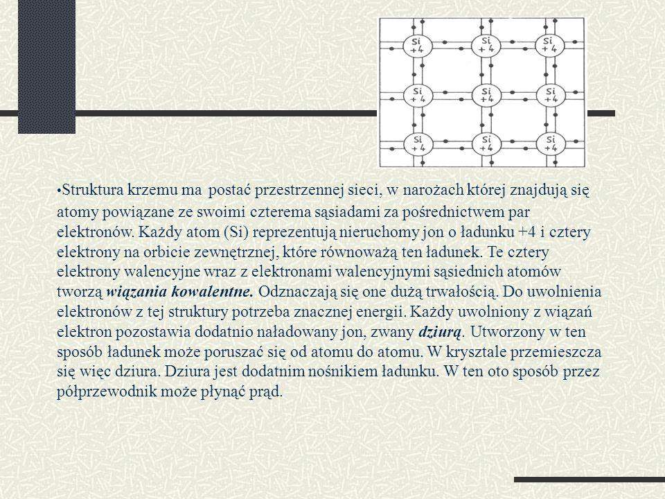 Struktura krzemu ma postać przestrzennej sieci, w narożach której znajdują się atomy powiązane ze swoimi czterema sąsiadami za pośrednictwem par elekt
