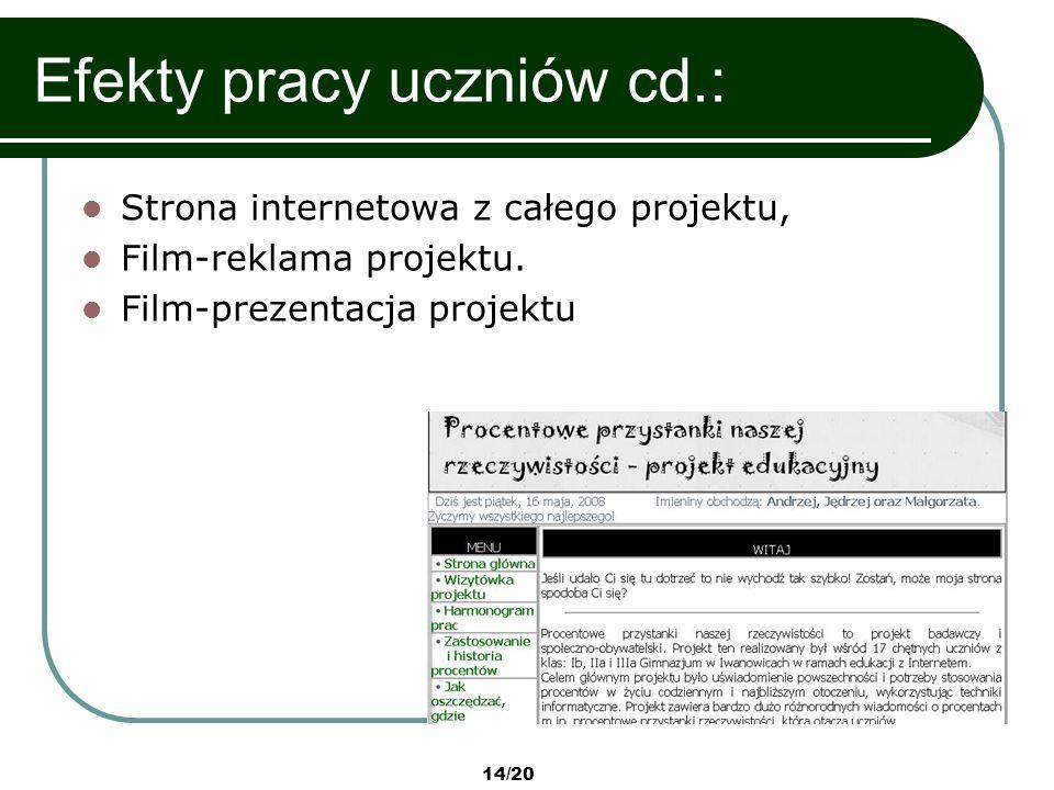 14/20 Efekty pracy uczniów cd.: Strona internetowa z całego projektu, Film-reklama projektu. Film-prezentacja projektu