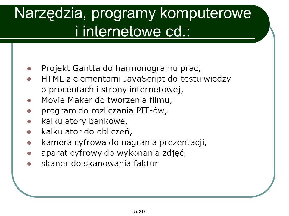5/20 Narzędzia, programy komputerowe i internetowe cd.: Projekt Gantta do harmonogramu prac, HTML z elementami JavaScript do testu wiedzy o procentach