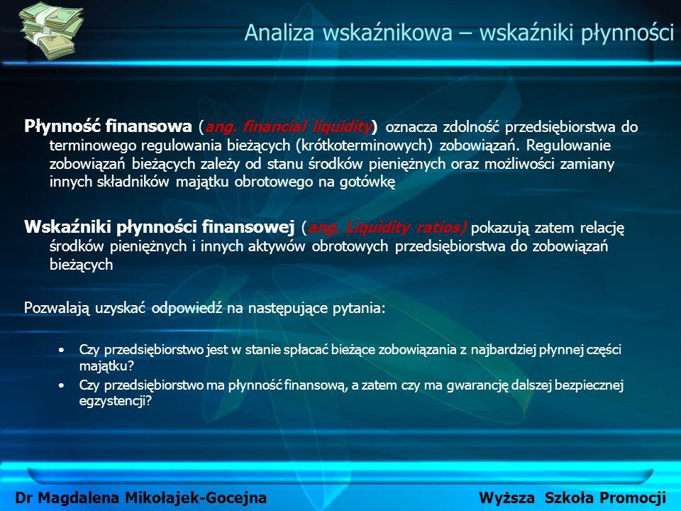Płynność finansowa może być oceniana przy pomocy następujących wskaźników: Wskaźnika bieżącej płynności (wskaźnik III stopnia płynności) Wskaźnika szybkiej (przyspieszonej) płynności (wskaźnik II stopnia płynności) Wskaźnika płynności gotówkowej (wskaźnik I stopnia płynności) Analiza wskaźnikowa – wskaźniki płynności Dr Magdalena Mikołajek-Gocejna Wyższa Szkoła Promocji