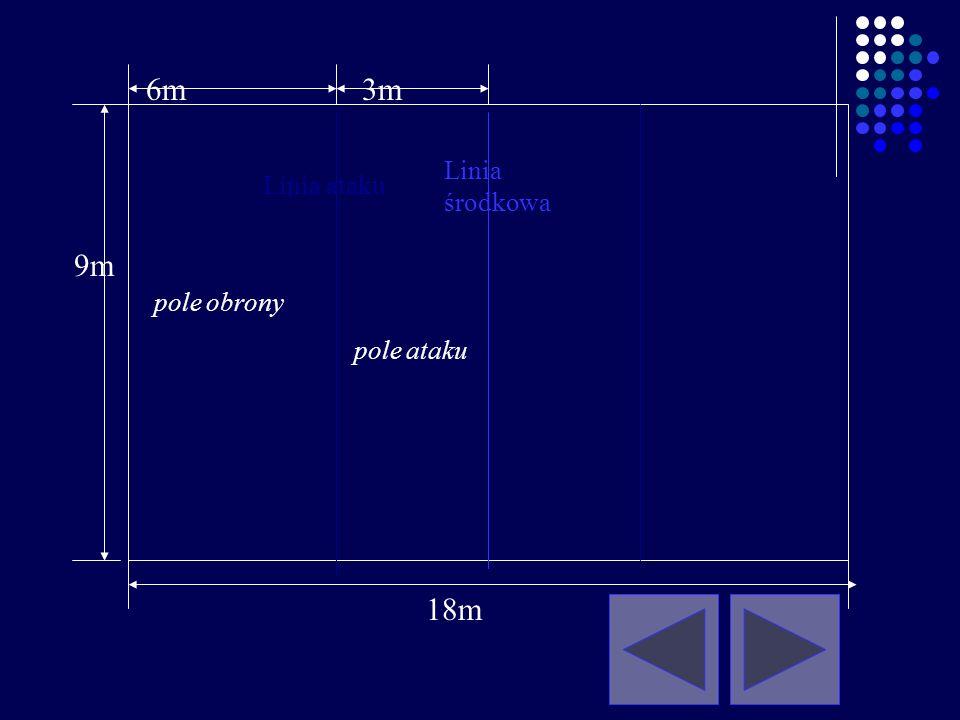 boisko do gry jest prostokątne o wymiarach 18 x 9 m, 1.Wymiary: 9 m 18 m Wolna strefa – 3m otoczone wolną strefą o szerokości co najmniej 3 m z każdej