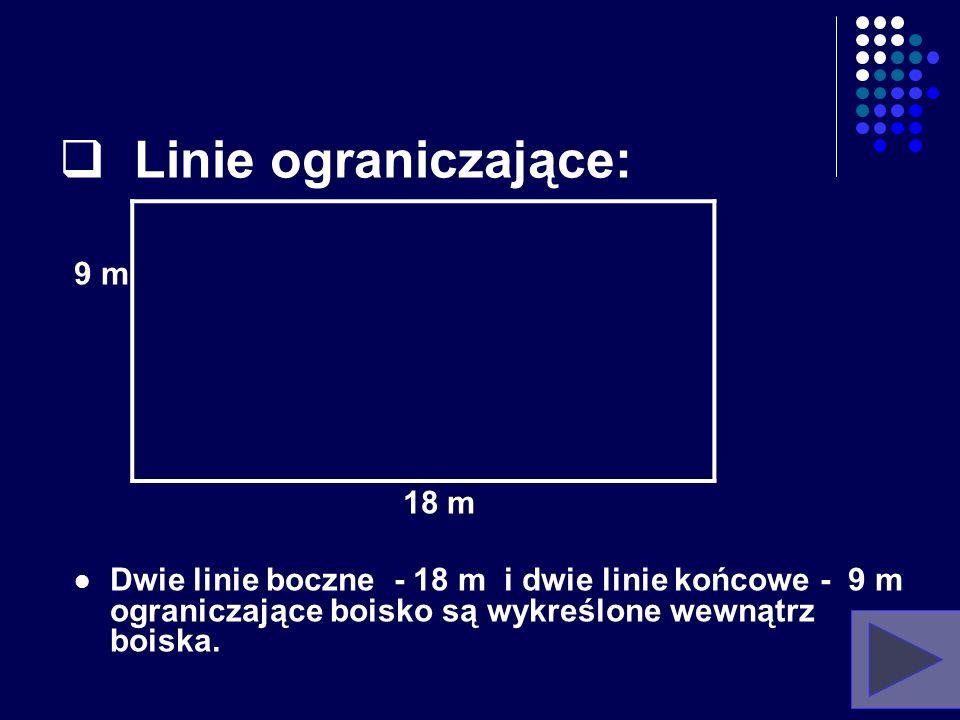 3. Linie boiska: Wszystkie linie boiska mają szerokość 5 cm. Muszą być koloru jasnego, różniącego się od koloru powierzchni boiska oraz wolnej strefy