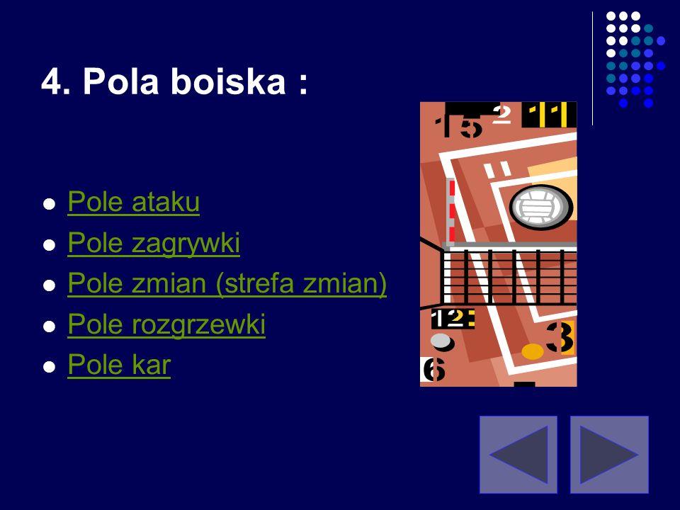 Linia ataku: Na każdej stronie pola gry, wyznaczone jest pole ataku, poprzez linię ataku, której zewnętrzna krawędź wykreślona jest 3 m od osi linii ś