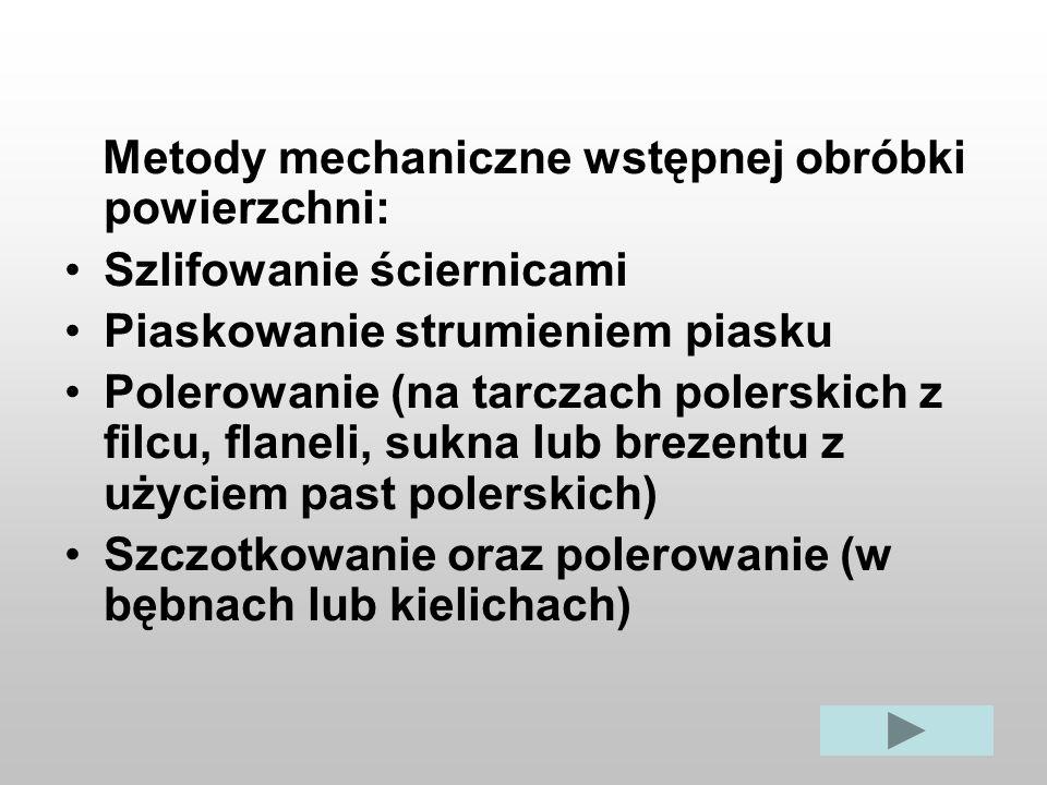 Metody mechaniczne wstępnej obróbki powierzchni: Szlifowanie ściernicami Piaskowanie strumieniem piasku Polerowanie (na tarczach polerskich z filcu, f