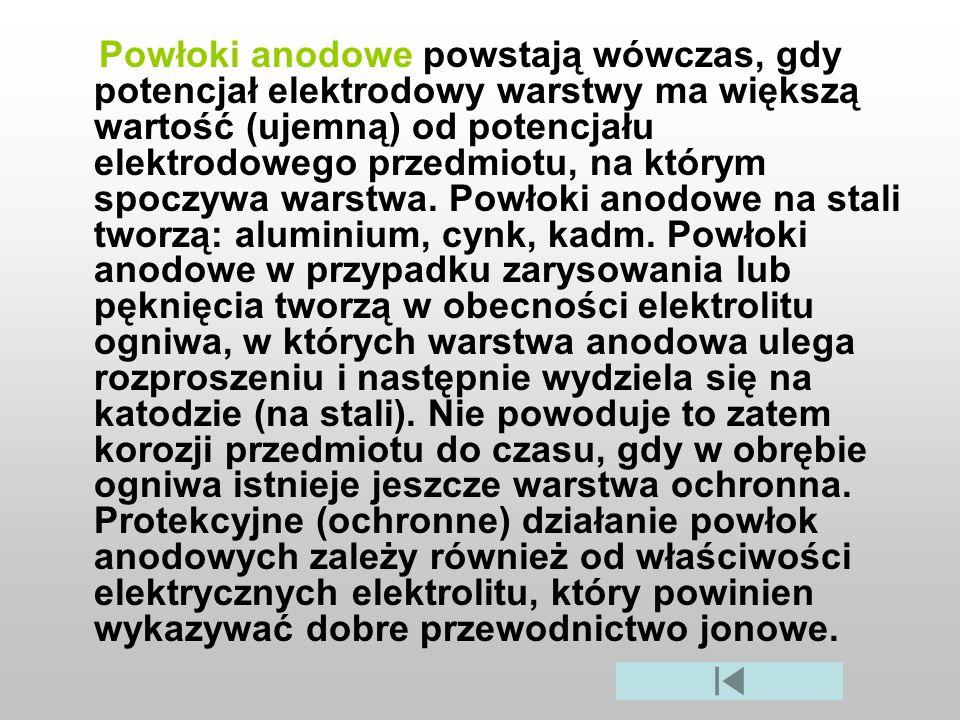 Powłoki anodowe powstają wówczas, gdy potencjał elektrodowy warstwy ma większą wartość (ujemną) od potencjału elektrodowego przedmiotu, na którym spoc