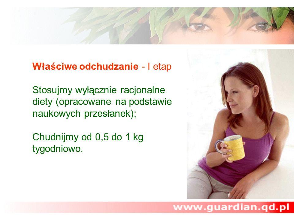 Właściwe odchudzanie - I etap Stosujmy wyłącznie racjonalne diety (opracowane na podstawie naukowych przesłanek); Chudnijmy od 0,5 do 1 kg tygodniowo.