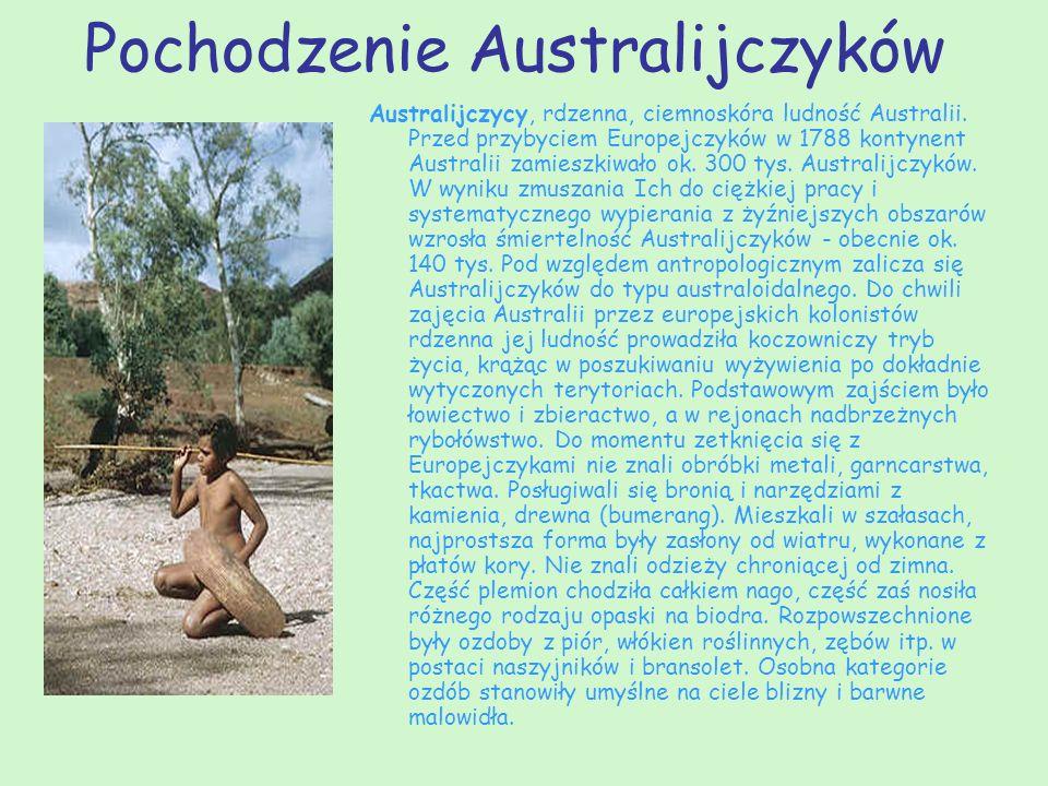 Pochodzenie Australijczyków Australijczycy, rdzenna, ciemnoskóra ludność Australii. Przed przybyciem Europejczyków w 1788 kontynent Australii zamieszk