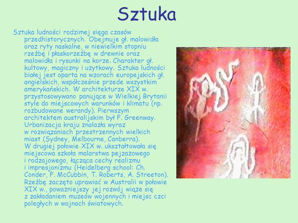 Sztuka Sztuka ludności rodzimej sięga czasów przedhistorycznych. Obejmuje gł. malowidła oraz ryty naskalne, w niewielkim stopniu rzeźbę i płaskorzeźbę