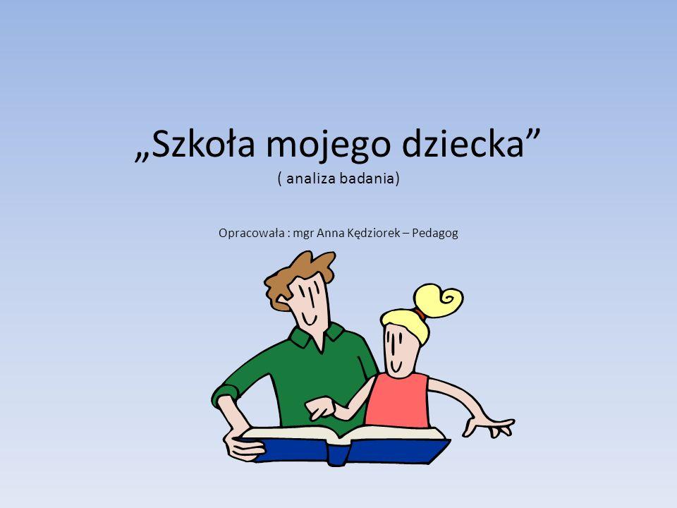 Szkoła mojego dziecka ( analiza badania) Opracowała : mgr Anna Kędziorek – Pedagog