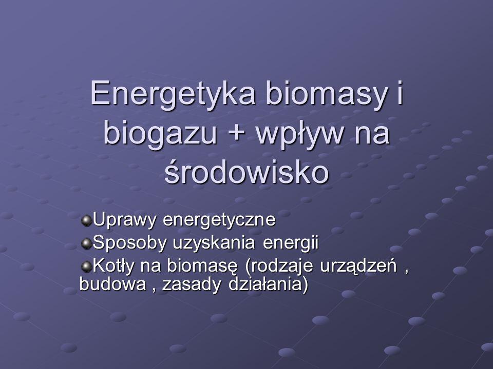 Energetyka biomasy i biogazu + wpływ na środowisko Uprawy energetyczne Sposoby uzyskania energii Kotły na biomasę (rodzaje urządzeń, budowa, zasady dz