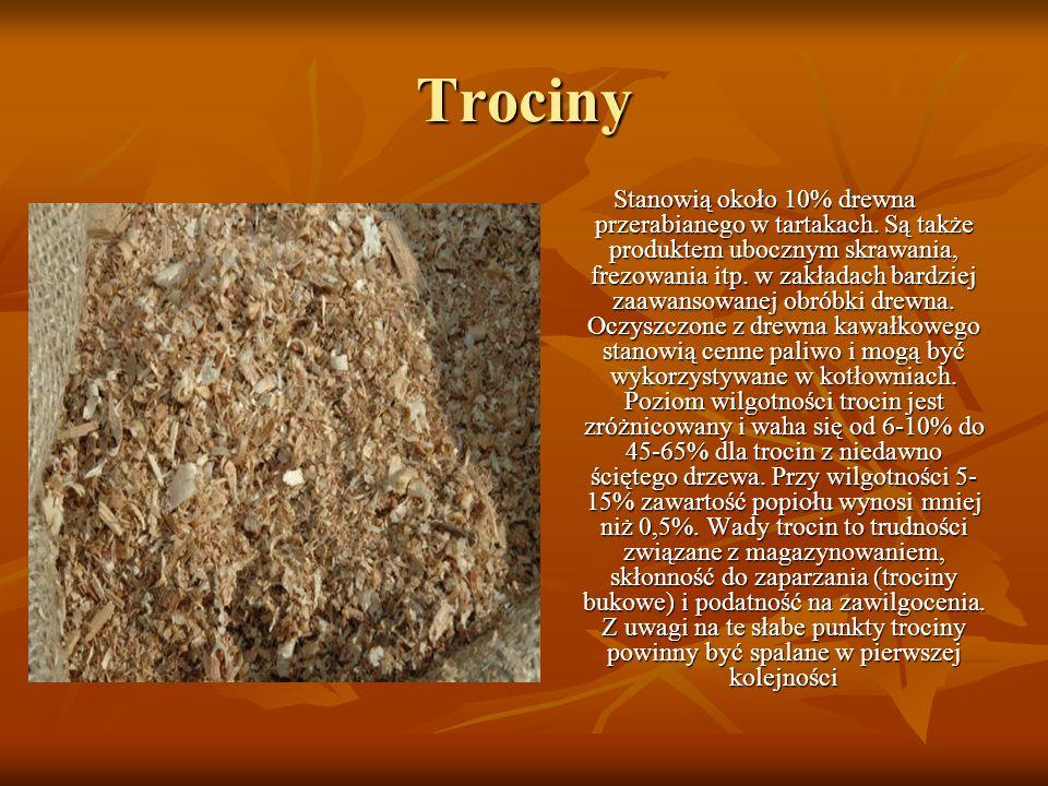 Trociny Stanowią około 10% drewna przerabianego w tartakach. Są także produktem ubocznym skrawania, frezowania itp. w zakładach bardziej zaawansowanej