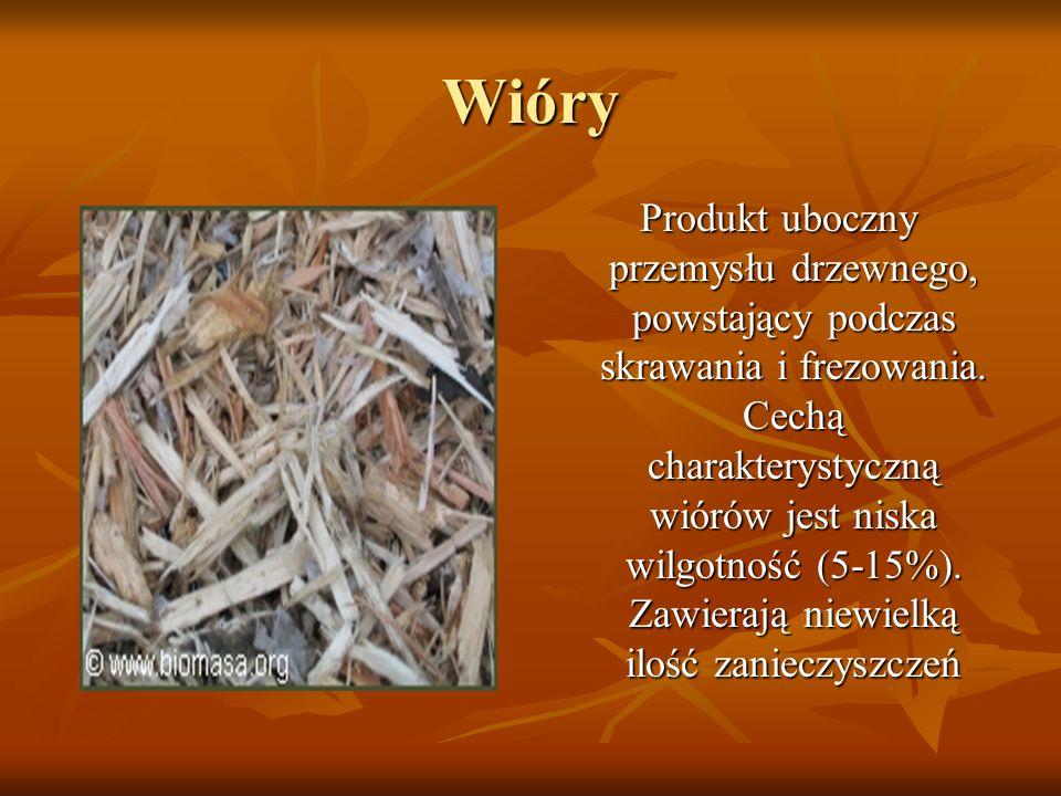 Wióry Produkt uboczny przemysłu drzewnego, powstający podczas skrawania i frezowania. Cechą charakterystyczną wiórów jest niska wilgotność (5-15%). Za