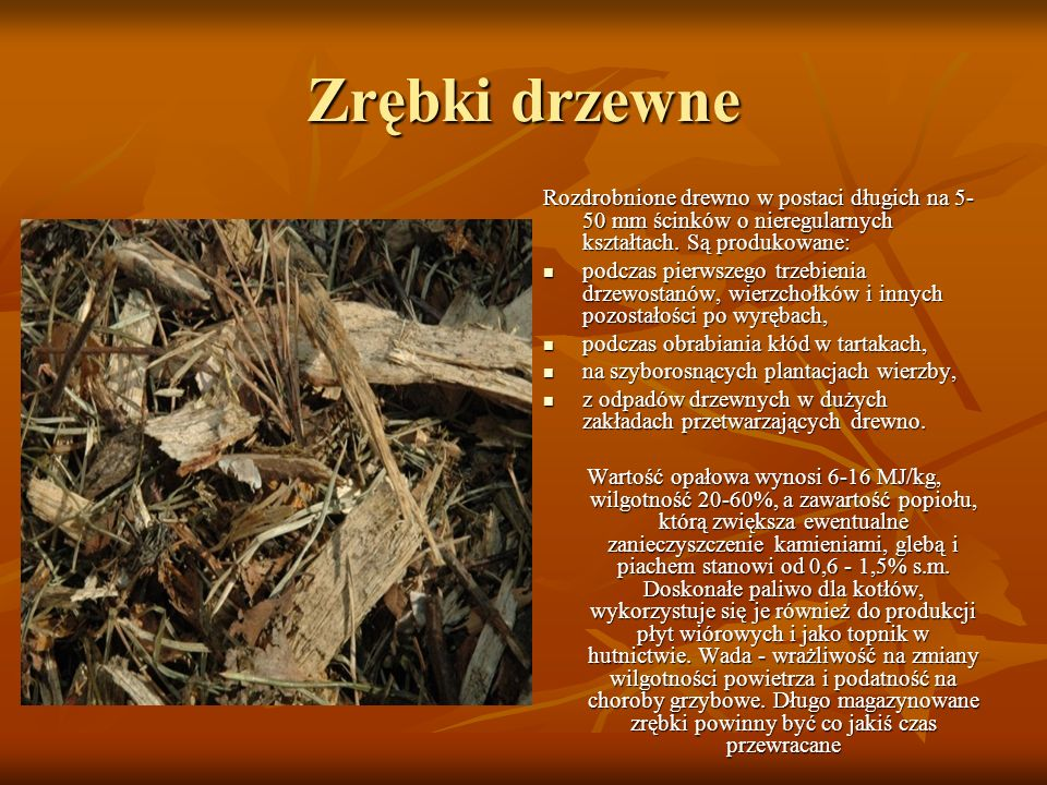 Zrębki drzewne Rozdrobnione drewno w postaci długich na 5- 50 mm ścinków o nieregularnych kształtach. Są produkowane: podczas pierwszego trzebienia dr