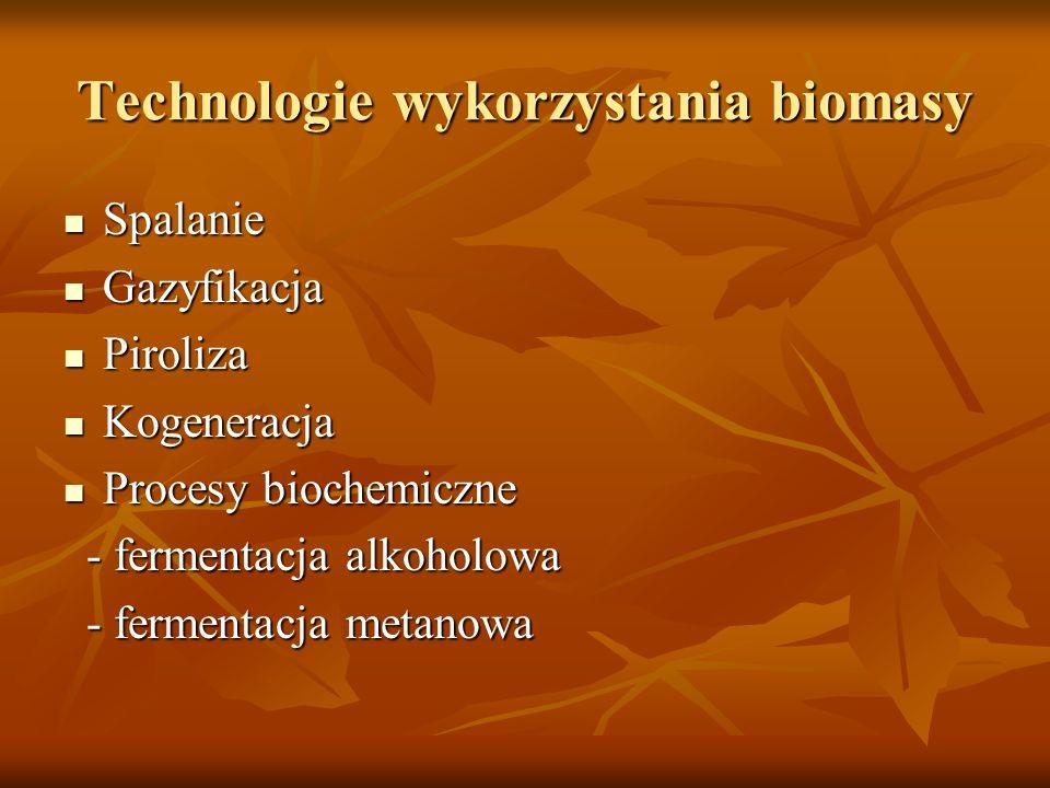 Technologie wykorzystania biomasy Spalanie Spalanie Gazyfikacja Gazyfikacja Piroliza Piroliza Kogeneracja Kogeneracja Procesy biochemiczne Procesy bio