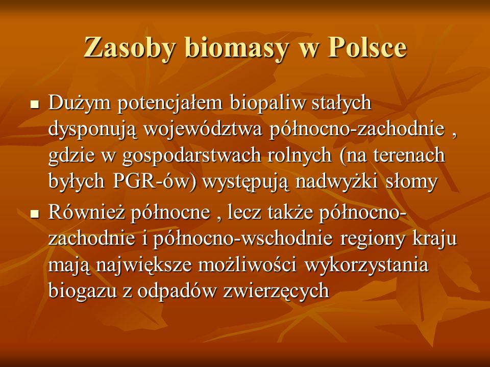 Zasoby biomasy w Polsce Dużym potencjałem biopaliw stałych dysponują województwa północno-zachodnie, gdzie w gospodarstwach rolnych (na terenach byłyc