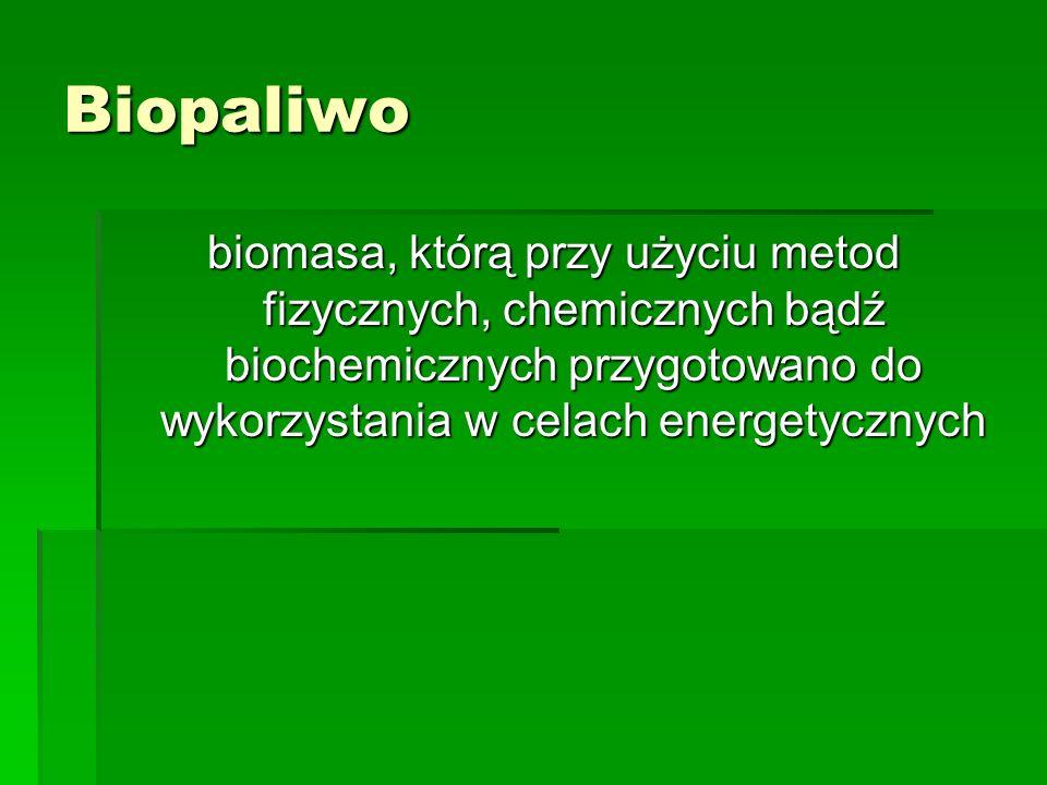 Biopaliwo biomasa, którą przy użyciu metod fizycznych, chemicznych bądź biochemicznych przygotowano do wykorzystania w celach energetycznych