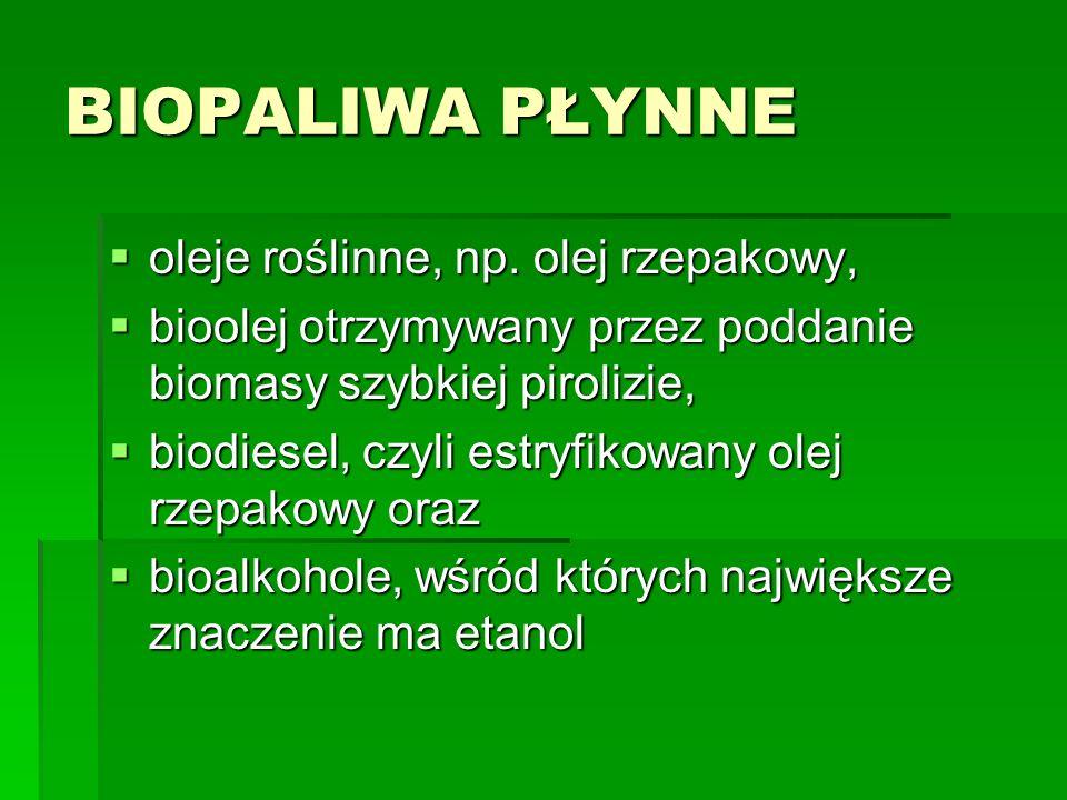 BIOPALIWA PŁYNNE oleje roślinne, np. olej rzepakowy, oleje roślinne, np. olej rzepakowy, bioolej otrzymywany przez poddanie biomasy szybkiej pirolizie