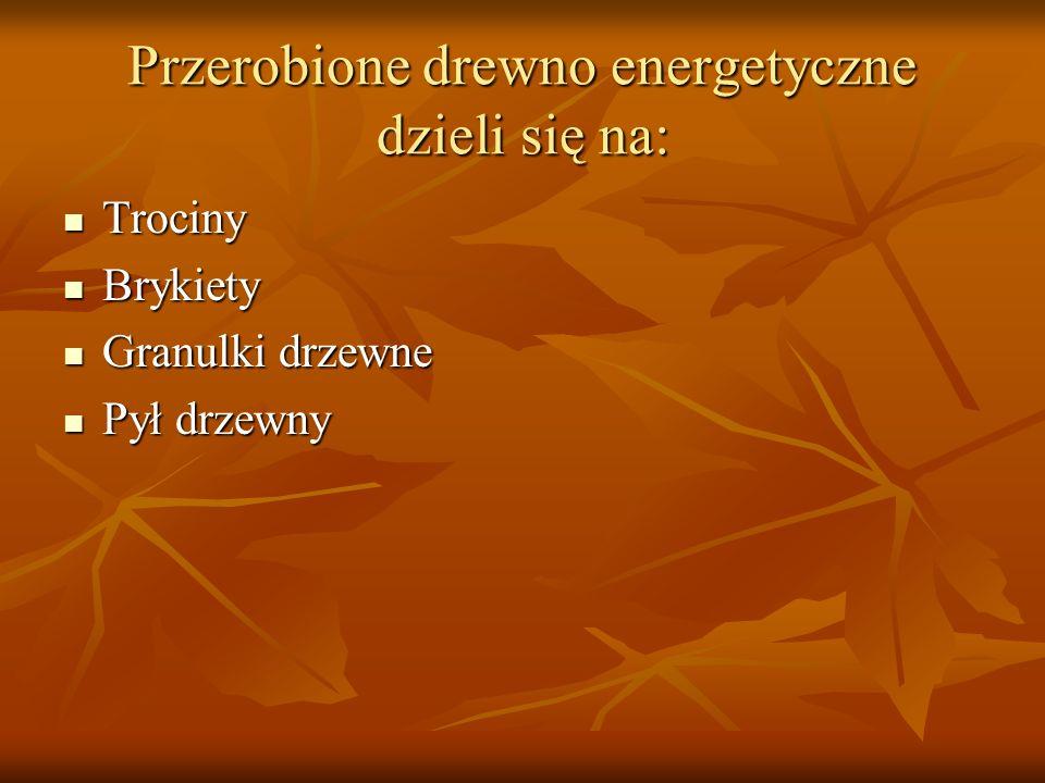 Przerobione drewno energetyczne dzieli się na: Trociny Trociny Brykiety Brykiety Granulki drzewne Granulki drzewne Pył drzewny Pył drzewny