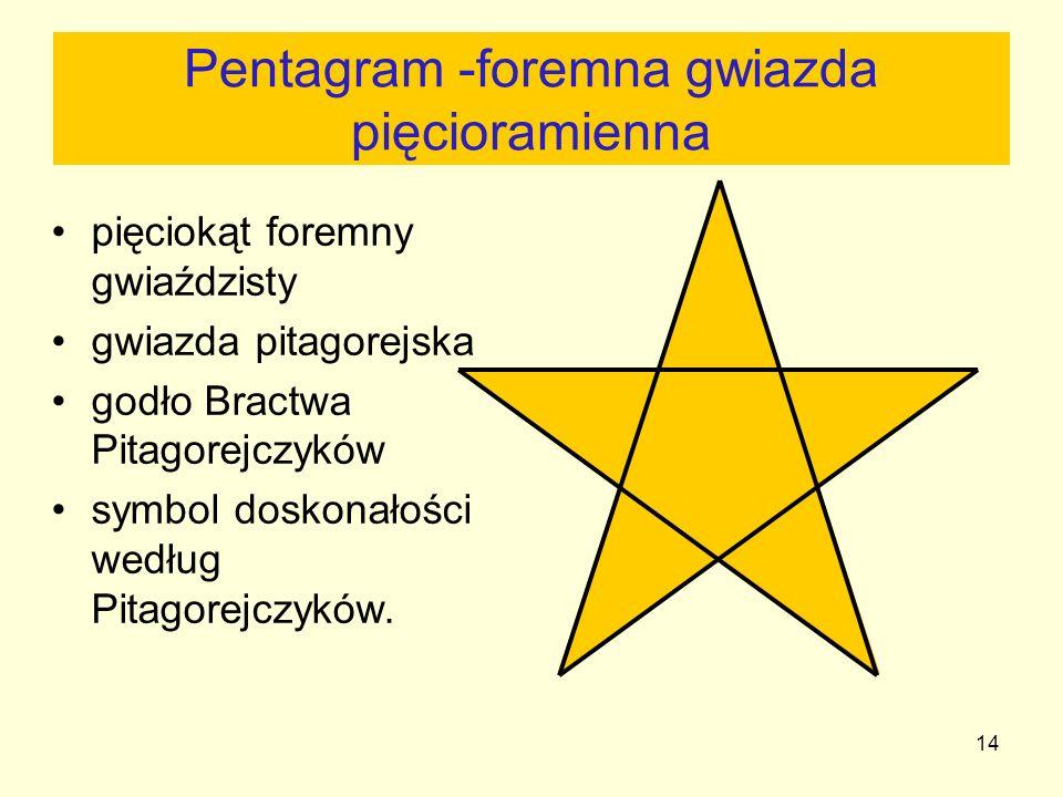 14 Pentagram -foremna gwiazda pięcioramienna pięciokąt foremny gwiaździsty gwiazda pitagorejska godło Bractwa Pitagorejczyków symbol doskonałości wedł