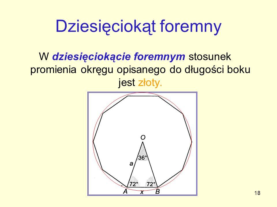 18 Dziesięciokąt foremny W dziesięciokącie foremnym stosunek promienia okręgu opisanego do długości boku jest złoty.