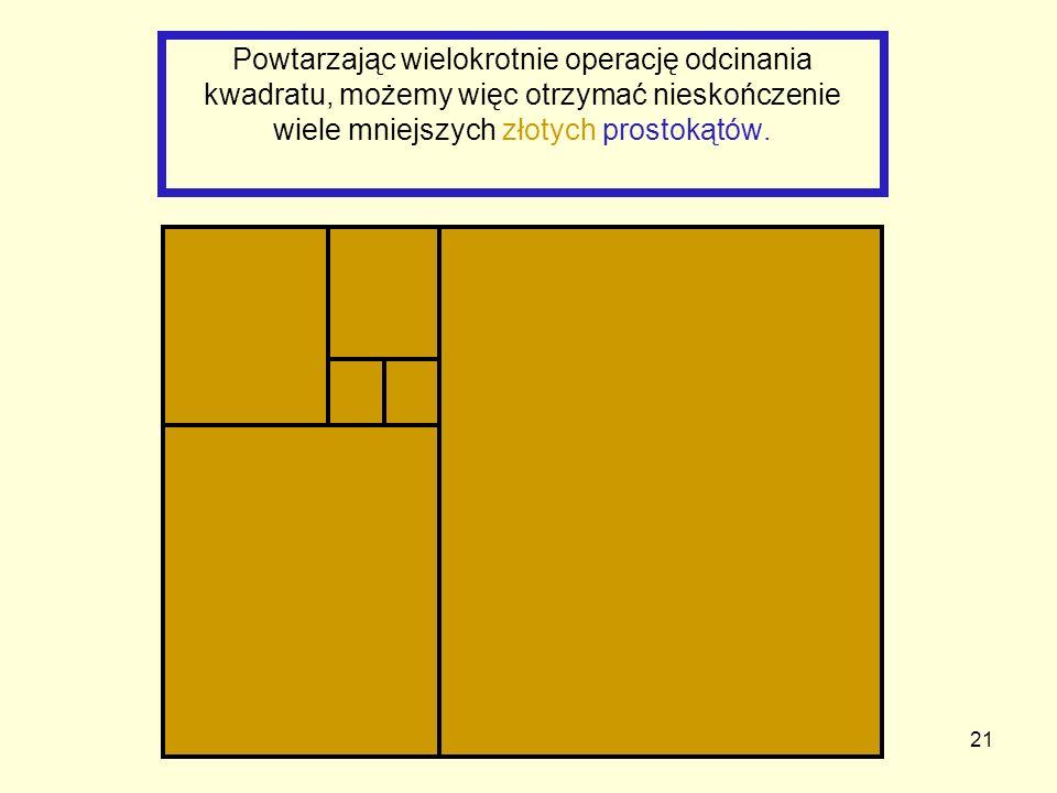 21 Powtarzając wielokrotnie operację odcinania kwadratu, możemy więc otrzymać nieskończenie wiele mniejszych złotych prostokątów.